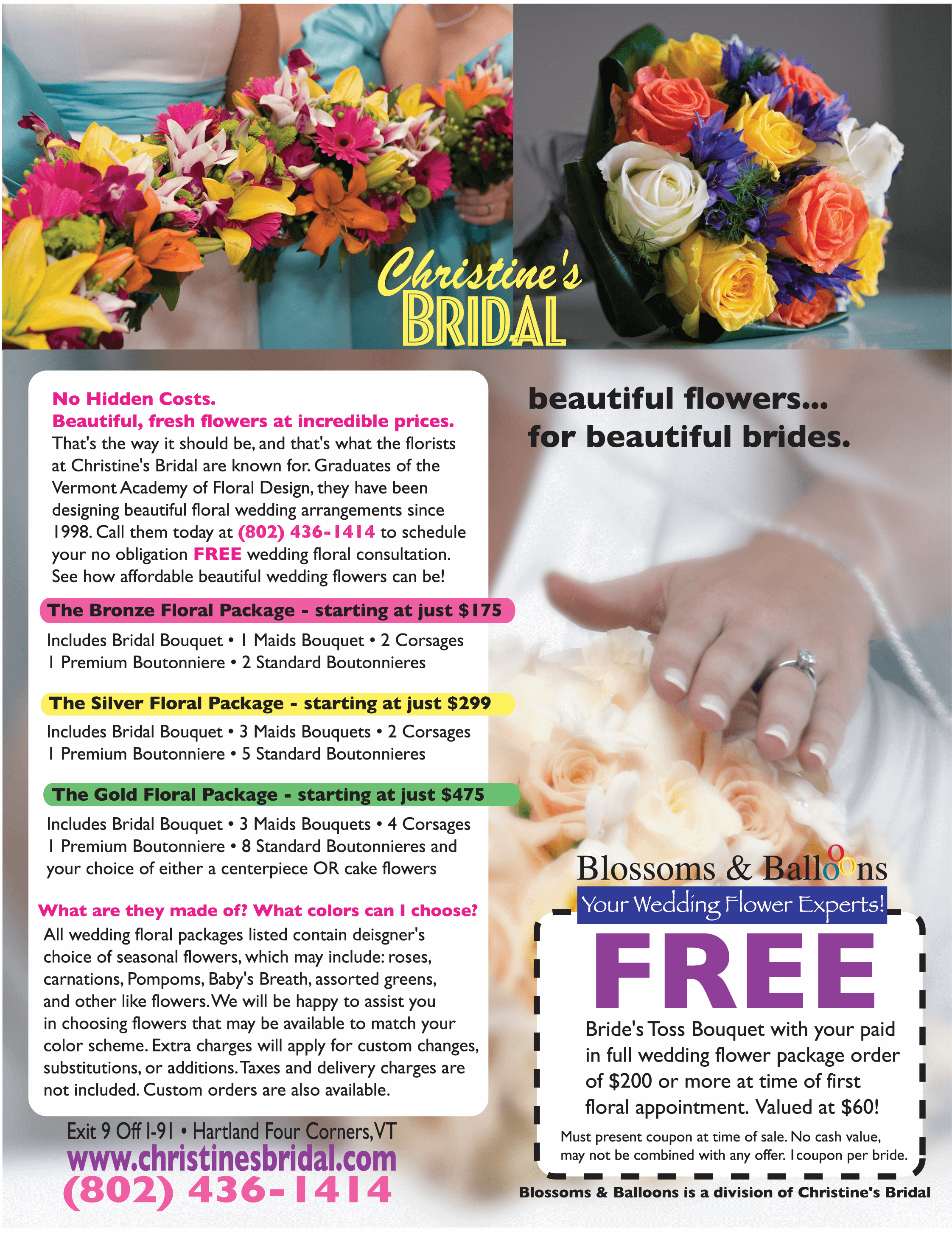 Wedding Flowers, Packages and Promotions at Christine's Bridal.