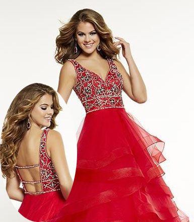 Tiered-ruffled-red-prom-dress
