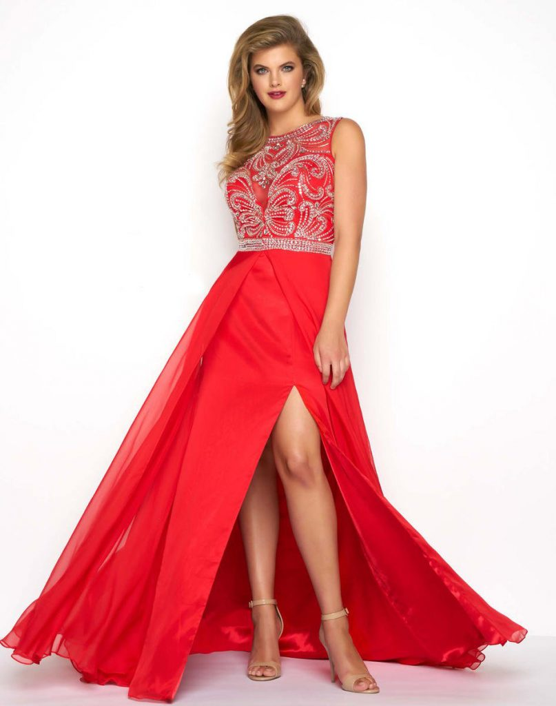 Red-prom-dress-plus-size-prom-dress-with-slit