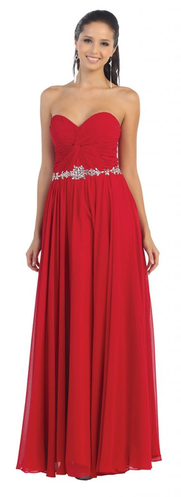 Red-prom-dress-with-sweetheart-neckline-and-belt